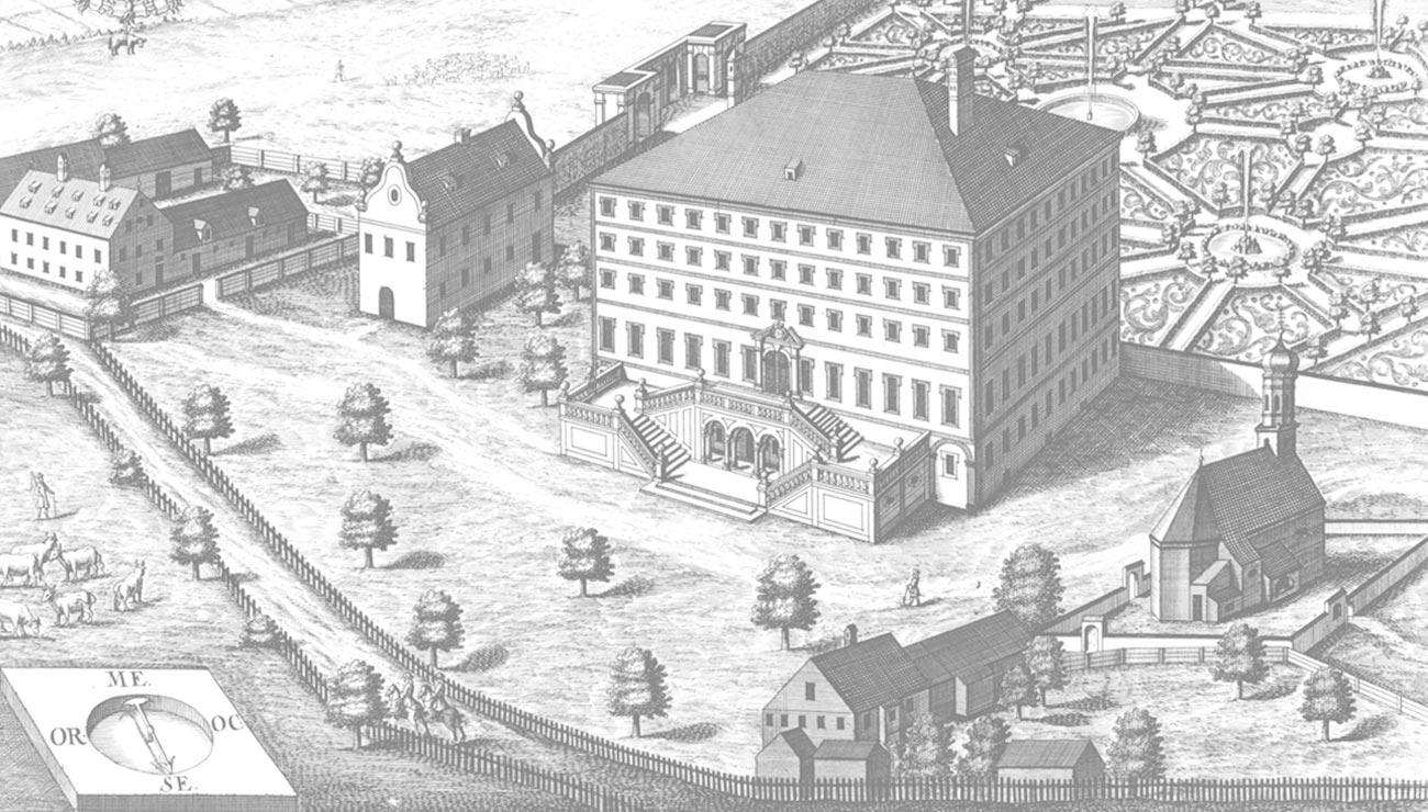 Historische Ansicht der Schlosswirtschaft Schwaige, München